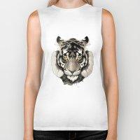 tiger Biker Tanks featuring Tiger by Rafapasta