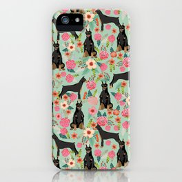 Doberman Pinscher florals must have dog breed gifts for dog person with doberman iPhone Case