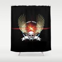 guns Shower Curtains featuring Skull & Guns by Messiahsc