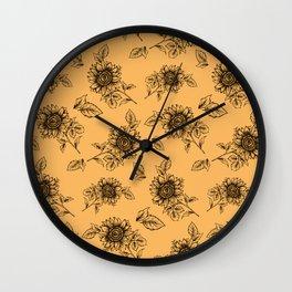 Vintage Sunflower Pattern  Wall Clock