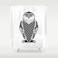art deco Shower Curtains featuring Snowy Art Deco by Jorge Garza