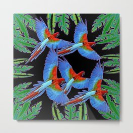 FLOCK OF JUNGLE BLUE MACAW PARROTS Metal Print