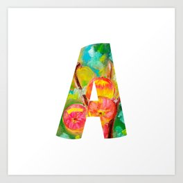 Letter A - Apple drawing by pastel Art Print