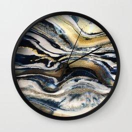 Flowing Geode Blue & Gold Wall Clock