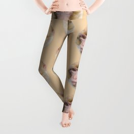 funny cute japanese macaque monkey pattern Leggings