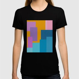 Happy Color Block Geometrics in Yellow, Blue, Purple, and Pink T-shirt