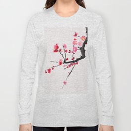 red plum flower red background Long Sleeve T-shirt