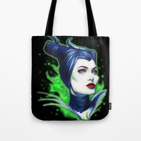 maleficent Tote Bags featuring Maleficent by marziiporn