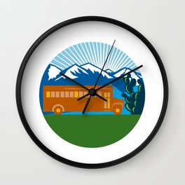 School Bus Vintage Cactus Mountains Circle Retro Wall Clock