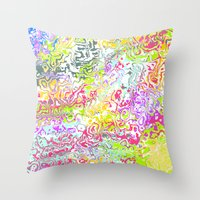 confetti Throw Pillows featuring Confetti by Abstract Designs