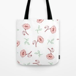 seamless pattern of beautiful poppy flowers and green twigs Tote Bag
