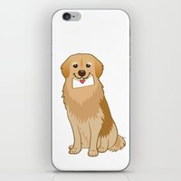 golden retriever iPhone & iPod Skins featuring Love Golden Retriever by Tetchan