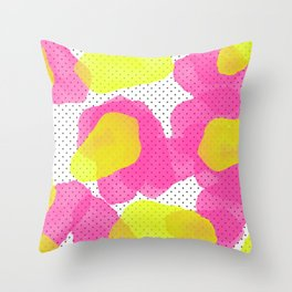 Sarah's Flowers - Abstract Watercolor on Polka Dots Throw Pillow