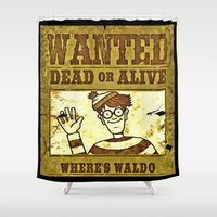 waldo Shower Curtains featuring Where's Waldo Wanted Poster by Silvio Ledbetter