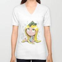 rapunzel V-neck T-shirts featuring Rapunzel by EY Cartoons