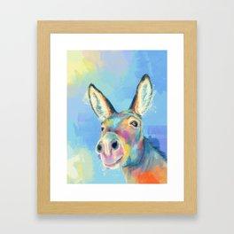 Carefree Donkey - Digital and Colorful Animal Illustration Framed Art Print