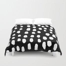 Spots black and white minimal dots pattern basic nursery home decor patterns Duvet Cover