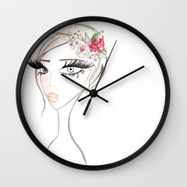 Flowers in  the hair Wall Clock