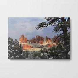 Red Rocks and Snow Metal Print