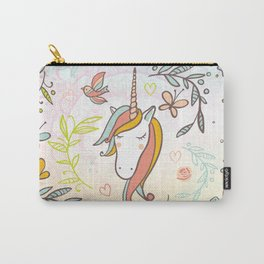 Pastel Vintage Dreams Unicorn - Illustrated unicorn with birds and butterflies Carry-All Pouch