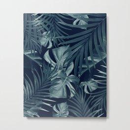 Tropical Jungle Night Leaves Pattern #3 #tropical #decor #art #society6 Metal Print