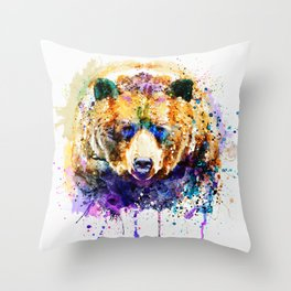 Colorful Grizzly Bear Throw Pillow