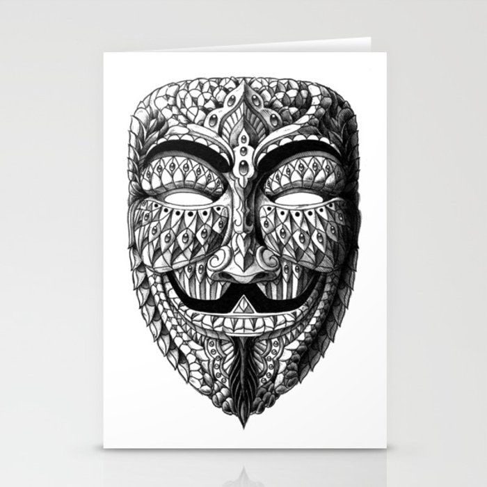 ornate anonymous mask stationery cards by bioworkz society6