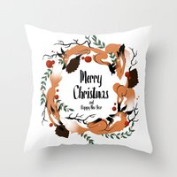 merry christmas Throw Pillows featuring Merry Christmas by Anya Volk
