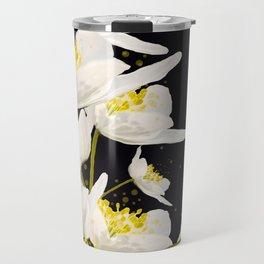 White Flowers On A Black Background #decor #buyart #society6 Travel Mug
