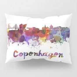 Copenhagen skyline in watercolor Pillow Sham