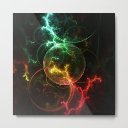 Carniverous Cape Sundew Tentacles in an Ecosphere Metal Print