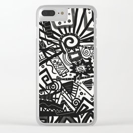 Black and White Maze Clear iPhone Case