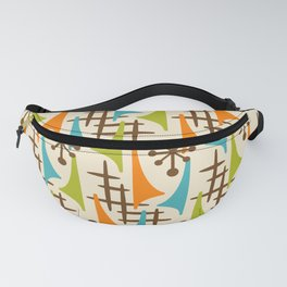 Retro Mid Century Modern Atomic Wing Pattern 421 Brown Orange Turquoise and Olive Green Fanny Pack