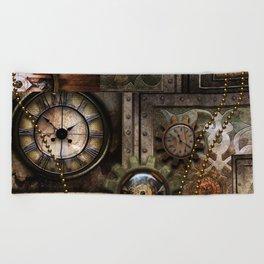 Steampunk, wonderful clockwork with gears Beach Towel