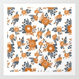 Texas orange and white university texans longhorns college football sports florals Art Print