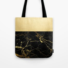 Gold and Black Marble Tote Bag