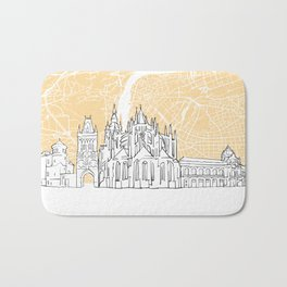 Prague Czech Republic Skyline Map Bath Mat