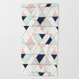 Mod Triangles - Navy Blush Mint Beach Towel