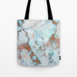 Rose Marble with Rose Gold Veins and Blue-Green Tones Tote Bag