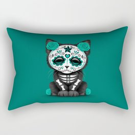 Cute Teal Blue Day of the Dead Kitten Cat Rectangular Pillow