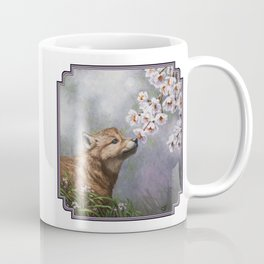 Wolf Pup and Spring Blossoms Coffee Mug