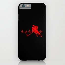 Ice Hockey Heartbeat Heartline Hockey Team Player iPhone Case