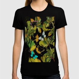 Vintage Ginkgo Leaves and Butterflies T-shirt