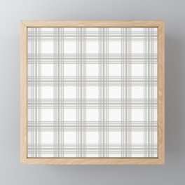Farmhouse Plaid in Gray and White Framed Mini Art Print