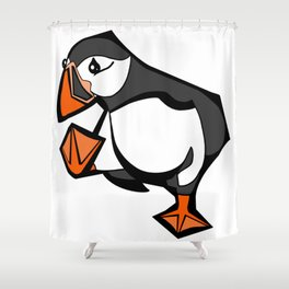 Puffin Goes For A Walk | Animal Series | DopeyArt Shower Curtain