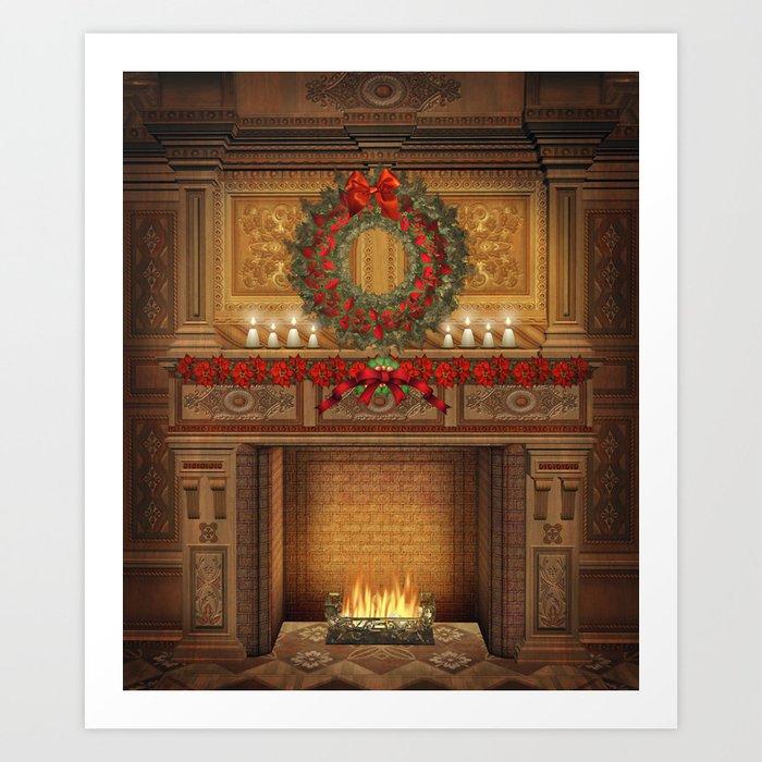 Fireplace Christmas.Christmas Fireplace Art Print By Fantasyartdesigns