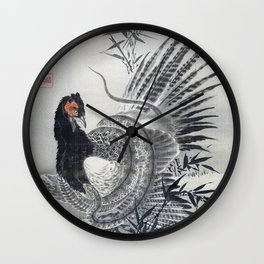 Pheasant Caught By A Snake - Digital Remastered Edition Wall Clock