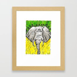 Friends of David Sheldrick Wildlife Trust - Yellow Green & Gray Elephant Fine Art Print Framed Art Print