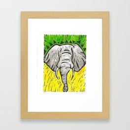 Friends of David Sheldrick Wildlife Trust - Yellow Green & Gray Elephant Fine Art Print Framed Art Print