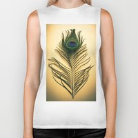 peacock feather Biker Tanks featuring Peacock Feather by Yorkwaypictures